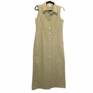 Linen Cotton Blend Sleeveless Maxi Sage Dress